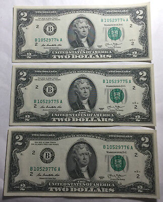 Bulk Lot of 3 - United States 2013 Two Dollars Consecutive Serial Numbers Notes