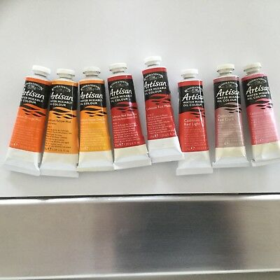 8 X 'artisan' Water Mixable Oil Colour-Winsor & Newton -Series 1 - Red & Yellow