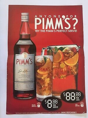 Pimms Cocktail Beer Sign Pub Man Cave Collectable Home Brew - Paper
