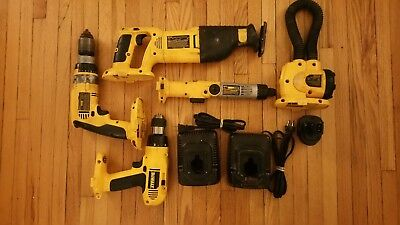 DEWALT Tools Lot of 8. Drills, Saw, Light, Chargers, and battery