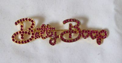 Betty Boop Pin / Brooch Gold Metal with Bright Red Stones by KFS/FS