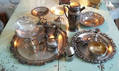 Large 20 piece Antique*Vintage Silverplate*Trays*Candlestick*Pedestals*Marked