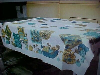 Vintage 60's linen tablecloth with roosters, plants etc  52X52""