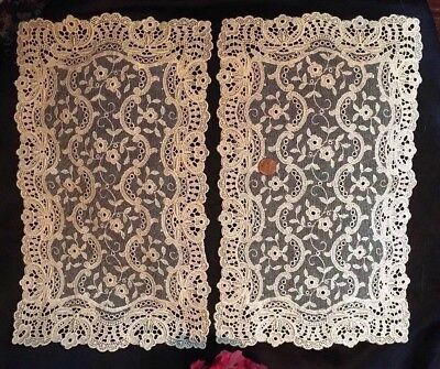 "PAIR, c1880s SWISS CHEMICAL LACE & Silk Net Tray Mats Runners~IVORY~15"" x 9"" 💐"