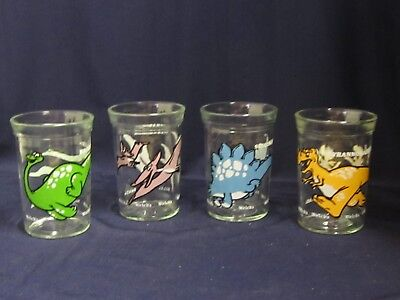Vtg 4 Welch's Jelly Jar Tumblers Cartoon Dinosaurs Juice Glasses