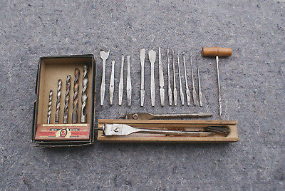 A Qty. Of Vintage Wood Working Drills And Bits Of Different Types.