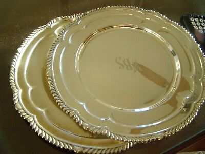 Antique GORHAM 2 STERLING SILVER Dinner PLATES / CHARGERS Trays, 1200 grams!