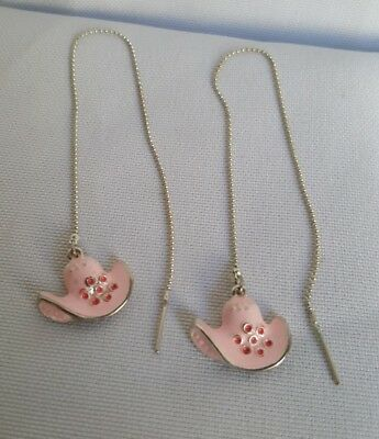 Beautiful Pink Western Cowgirl Hat Dangle Pull Through Chain Earrings