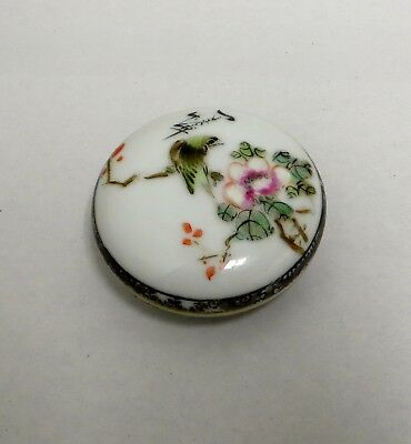 Vintage Signed Chinese Famille Rose Trinket Box W/ Bird & Flowers