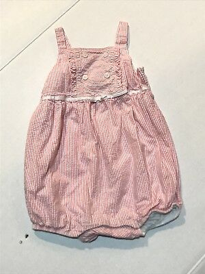NWT Janie And Jack Baby 12 18 Month Pink White Seersucker Bubble Romper Easter