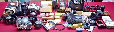 Huge Lot Vintage Cameras And Photography Accessories, Kodak Medalist Camera