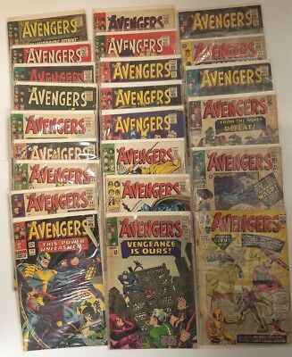 Avengers Silver Age Low Gr Reader Lot of 23 comics #2, 20-24 26-38 41,43,48,50