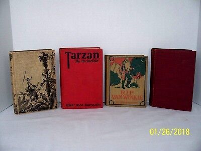 Mixed Lot Of 4 Antique Children's books Tarzan Rip Van Winkle Uncle Tom's Cabin