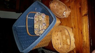 Lot of 4 Longaberger baskets liners protector '93 '97 '00 '02 Excellent conditio