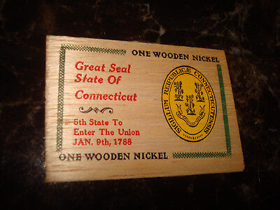 Connecticut Jan 9th 1788 Great Seal State Flat Wooden Nickel