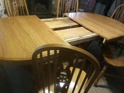 Oak Pedestal Expandable Dining Room Table U0026 Chairs Walter Of Wabash (4)  Leaves