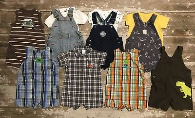 Huge Toddler Boy Summer Lot One Piece Carters, Gymboree, rompers 18-24month