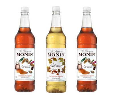 3 x Monin Syrup 1 Litre - 7 flavours to choose from