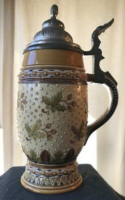"Mettlach Stein #1288 .5 Liter Mosaic Type Pewter Lid 8 3/4"" High White Beads"