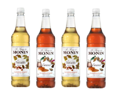 4 x Monin Syrup 1 Litre - 7 flavours to choose from