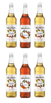 6 x Monin Syrup 1 Litre - 7 flavours to choose from