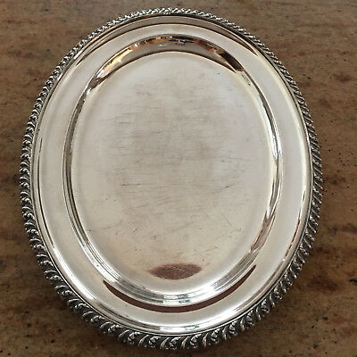 "Oval 14"" Silver Plate Serving Tray by Barker Ellis of Birmingham England"