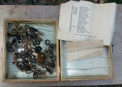 Antique Victorian Hair Art Flowers Pyrography Box Family 22 members mourning