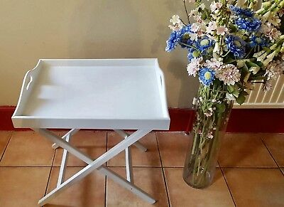 ANTIQUE DUTCH BUTLERS TRAY & FOLDING STAND LIGHT BLUE CHALK  GOOD SIZE 59 x 47cm
