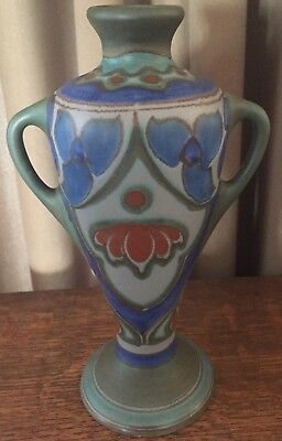 "1920 Matte Blue Gray Green Rust Gouda Yssel Vase w/ Handles 9"" Tall Holland"