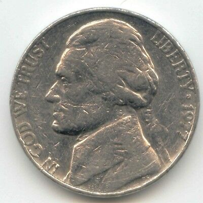 USA 1977 American Nickel Five cent piece 5c 5 Cents Jefferson EXACT COIN SHOWN