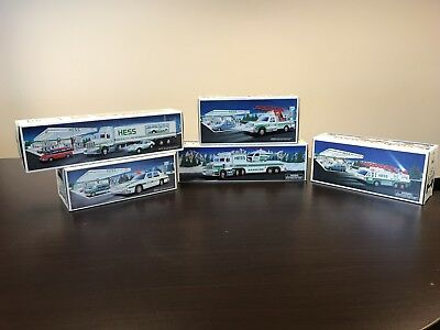 Hess Truck Lot Of 5 1992 1993 1994 1995 1996 Fire Helicopter Patrol Car Rescue