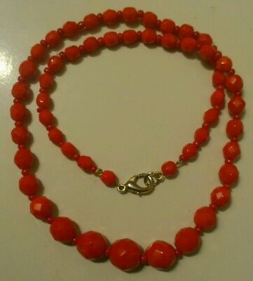 Vintage Lipstick Red Czech Faceted Glass Art Deco Bead Necklace