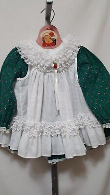 Vtg Toddler Girl Bryan Usa Made 2 Piece Frilly Dress & Pinafore Size 3T Portrait