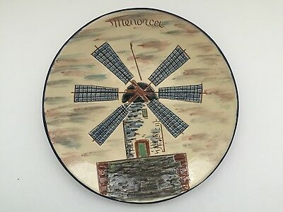 Vtg Puigdemont Large Red Clay Pottery Sgraffito Spain Menorca Windmill Art Plate