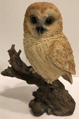 "NICE Lifelike Barn Owl Perched on Tree Branch Resin Figurine Statue 12"" Tall"