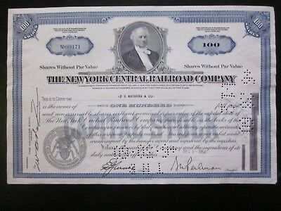 1957 The New York central railroad company stock certificate 100 shares