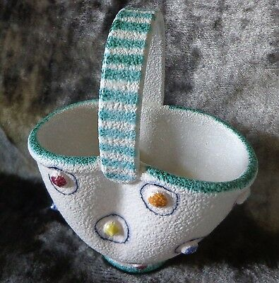 Italian Art Pottery Basket Planter With Handle. Marked Italy F4492 Vintage