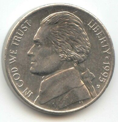 USA 1995D Five Cent American Jefferson Nickel 5c Piece 5 Cents 1995 D EXACT COIN