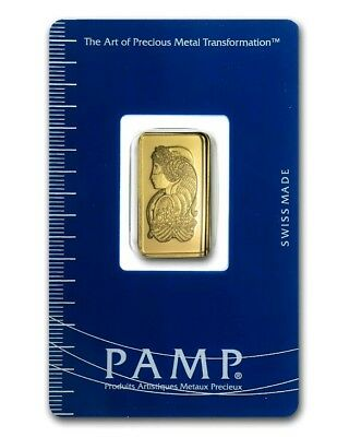 2.5 Gram Gold Bar - Pamp Suisse  Lady Fortuna - In Assay Card