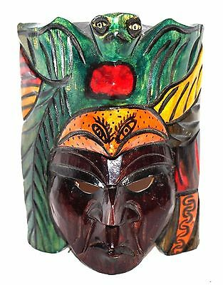 Mexican Wood Hanging Mask Folk Art Hand Crafted & Painted Collectible Decorative