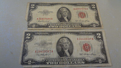 USA 1953  $2 Dollar Bills 2 x US Paper Note Money  Currency Red Seal Fine / Cir