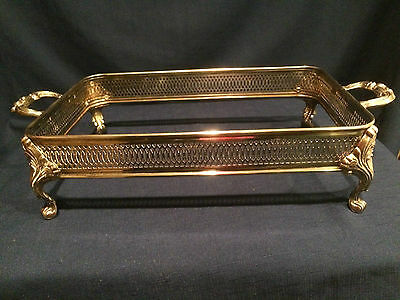 "VINTAGE Silverplate Footed Casserole Dish Holder with Handles 13""x 8 1/2"" reduce"