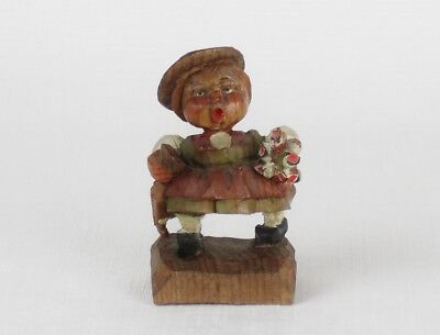 Vintage ANRI WOOD CARVING Italy GIRL WITH FLOWERS & UMBFRELLA Folk Art