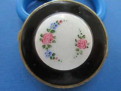 Vintage Ladies Powder Compact  Guilloche Enamel with Roses.