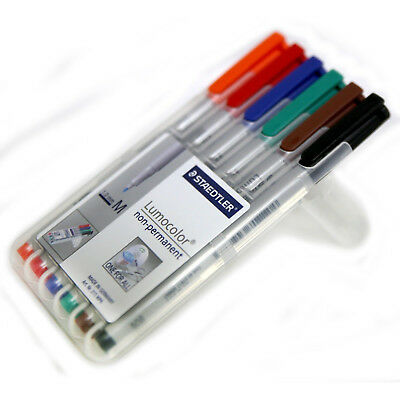 STAEDTLER Lumocolor Non-Permanent MEDIUM 1.0mm Universal Marker Pens Pack of 6