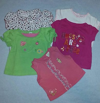 Girls Lot of 5 SHIRTS 18 months TOPS Pooh hugs hearts ladybug flowers ALL Cotton