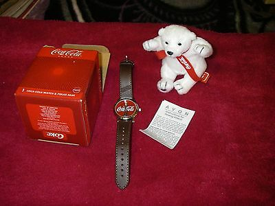 NIB Coca Cola brand / Avon 2002 collectable Coke watch with plush polar bear NOS