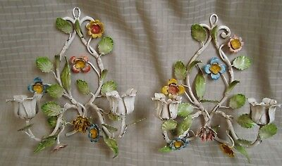 Pair of Vintage Italian Tole Floral Wall Candle Holders Sconces