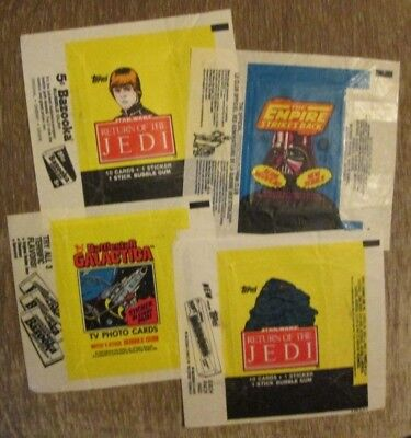 Three Wrappers from Star Wars and one from Battlestar Galactica