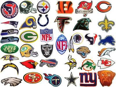 New NFL, National Football league team logo patches. Embroidered iron on patch.
